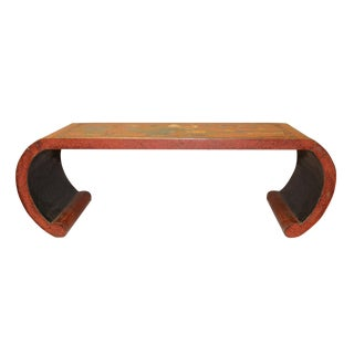 Chinese Orange Red Color Flower Birds Scroll Table Stand For Sale