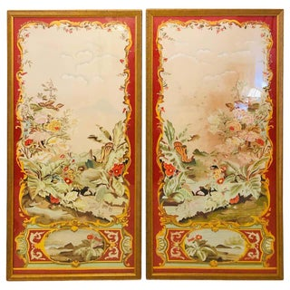 Oriental Painted Silk Panels on Fine Gilt Frames Under Plexiglass, a Pair For Sale