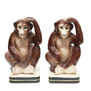 1970s Vintage Japanese Porcelain Monkey Bookends - a Pair For Sale