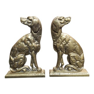 Circa 1880 English Victorian Brass Mantel Dogs - a Pair For Sale