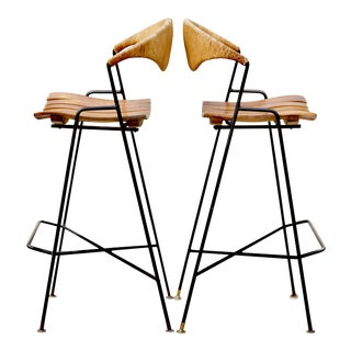 1950s Arthur Umanoff Iron& Paper Cord Bar Stools For Sale