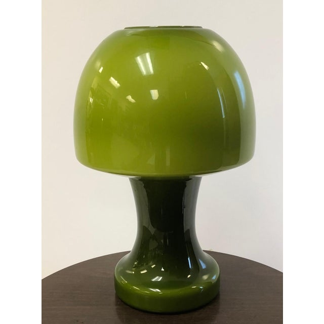 1970s Italian Murano Green Glass Mushroom Lamp For Sale - Image 5 of 5