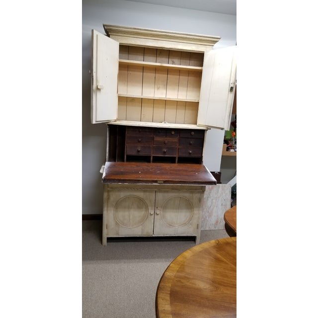 Antique White Hutch Desk - Image 3 of 9