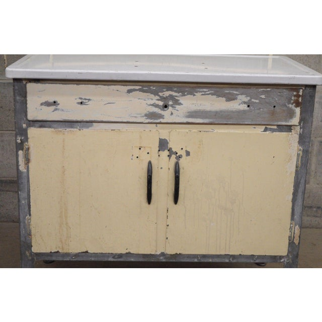 Industrial Antique Industrial Steel Metal Enamel Top Medical Cabinet For Sale - Image 3 of 13