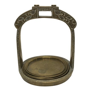 Early 20th Century Four Brass Trays with Holder - 5 Pc Set For Sale