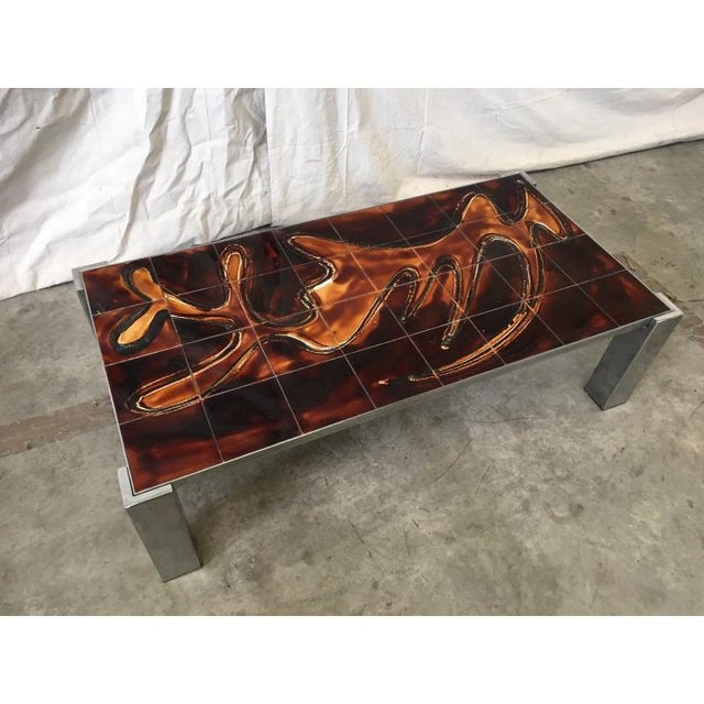 Mid-Century Tile Top Coffee Table With Chrome Frame For Sale - Image 4 of 8