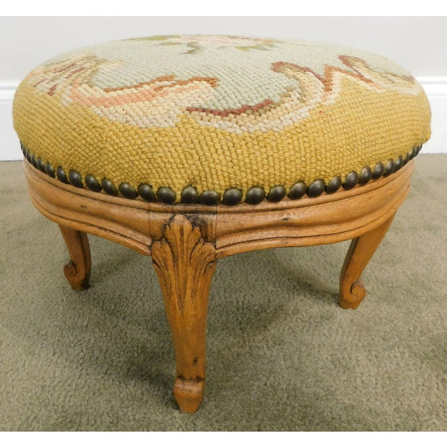 1900 - 1909 French Louis XV Style Antique Small Needlepoint Footstool For Sale - Image 5 of 13