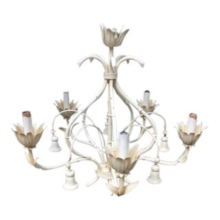Round Tulip Faux Bamboo Chandelier With Bells For Sale