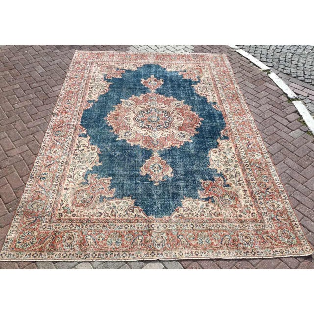 Large Distressed Oushak Rug For Sale - Image 13 of 13