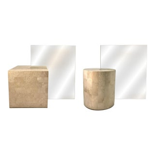 1970s Maitland Smith Cube / Cylinder Tessallated Stone Lamps - a Pair