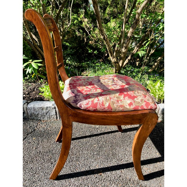 1920s Vintage English Regency Style Brass Inlaid Dining Chairs- Set of 4 For Sale - Image 10 of 13