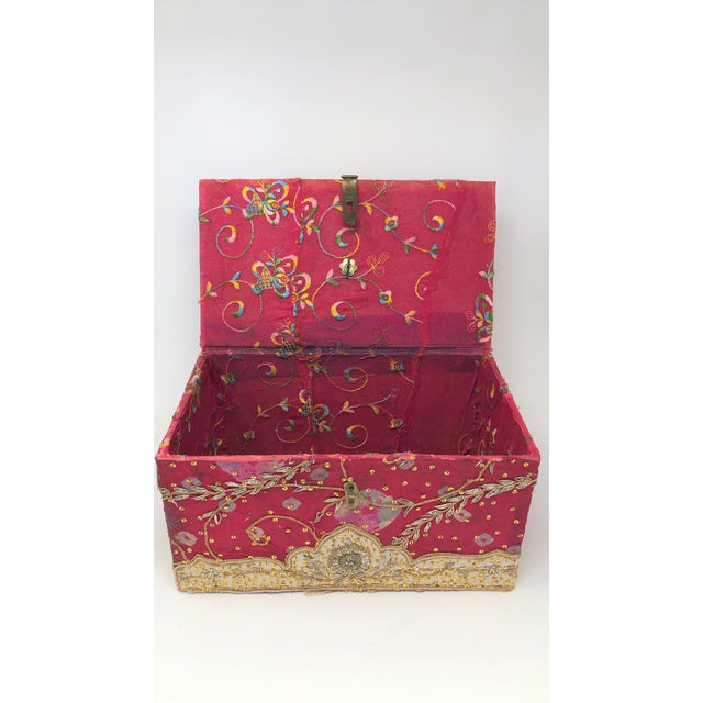 Beautiful antique red Indian box with sequinned embellishments.