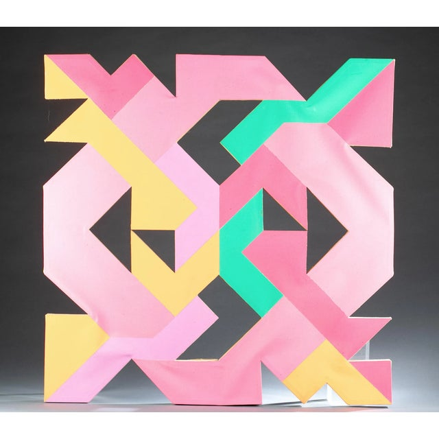 a glorious Mid 20th Century hard edge geometric abstract painting by esteemed American artist and educator Sidney Guberman...