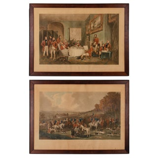 "Antique ""Melton Breakfast and the Meet of the Vine Hounds"" Sporting Engravings - Set of 2 For Sale"