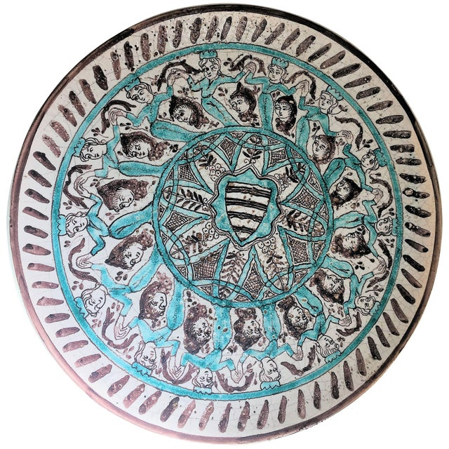 19th Century Brown and Mint Creamware Baroque Plate For Sale