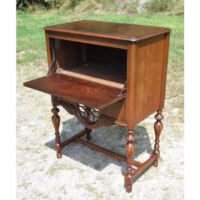 Vintage Art Deco Burl Walnut Cabinet Cocktail Mini Bar Desk For Sale - Image 4 of 13