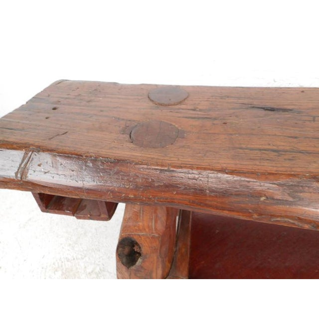 Mid-Century Modern Live Edge Cobbler Bench For Sale - Image 5 of 7