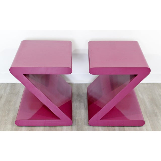 Contemporary Modern of Acrylic Z Shaped Side End Tables 1980s Pink - a Pair For Sale - Image 9 of 11