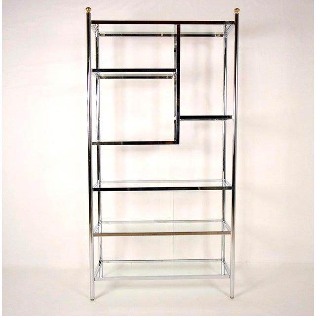 mid century modern style chrome etagere chairish. Black Bedroom Furniture Sets. Home Design Ideas