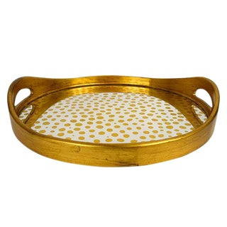 Mid-Century Art Deco Waylande Gregory Round 'Gold Dots' Mirror Tray