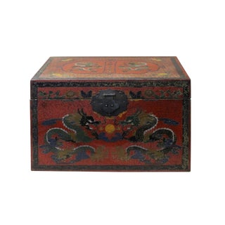 Chinese Distressed Red Dragons Graphic Rectangular Shape Box For Sale