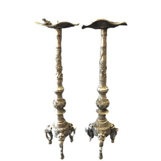 Bronze Asian Dragons Candle Holder Pair For Sale