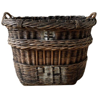 19th Century French Rattan Wicker Champagne Harvest Basket For Sale