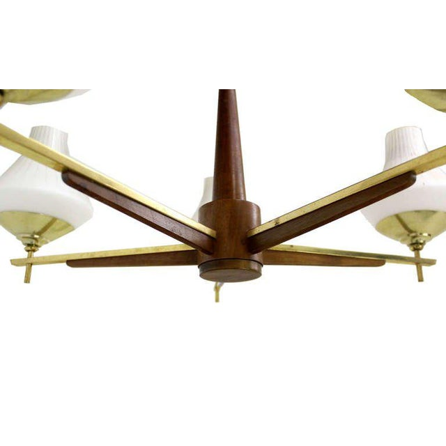 Very Nice Danish Mid Century Modern Style Five Arm Light Fixture