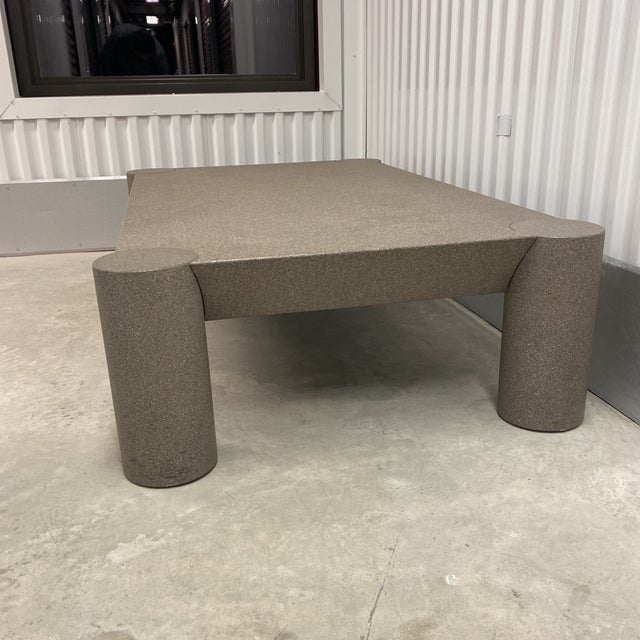 Postmodern Grey Postmodern Beveled Coffee Table With Thick Column Legs For Sale - Image 3 of 13