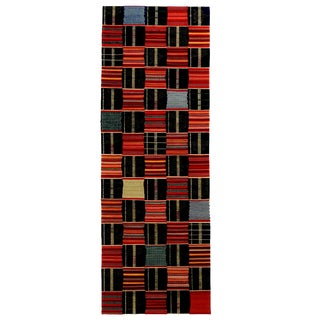 Contemporary Ghana Geometric Red and Blue Wool Runner - 2′9″ × 7′11″ For Sale