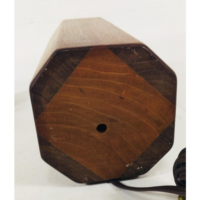 Hand Crafted Teak Lamps With Wood Shades - a Pair For Sale - Image 4 of 11