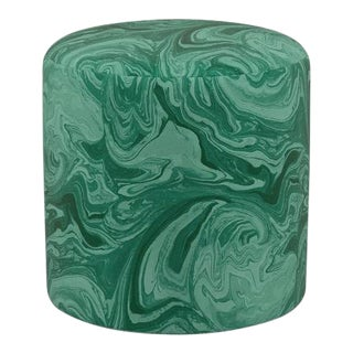 Scalamandre Drum Ottoman in Malachite For Sale