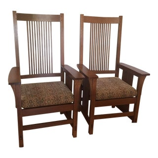 1990s Vintage Stickley Spindle Arm Chairs- A Pair For Sale