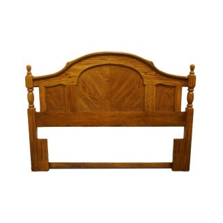 Late 20th Century Bassett Furniture Solid Oak Country French Bookmatched Full / Queen Size Headboard For Sale