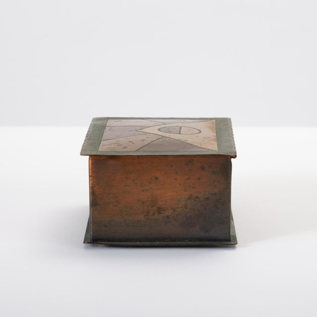 Mid 20th Century Handmade Copper Box With Painted Geometric Pattern by Craftsman Studios For Sale - Image 5 of 11