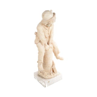19th Century Italian Alabaster Sculpture of a Boy Jumping a Post -By Grossi -Signed For Sale