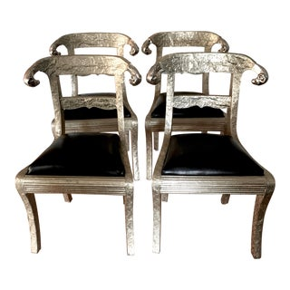 Silver Indian Wedding Chairs - Set of 4 For Sale