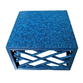 Chinese Chippendale, Cobalt Blue Lacquered, Malachite Finish Coffee Table For Sale