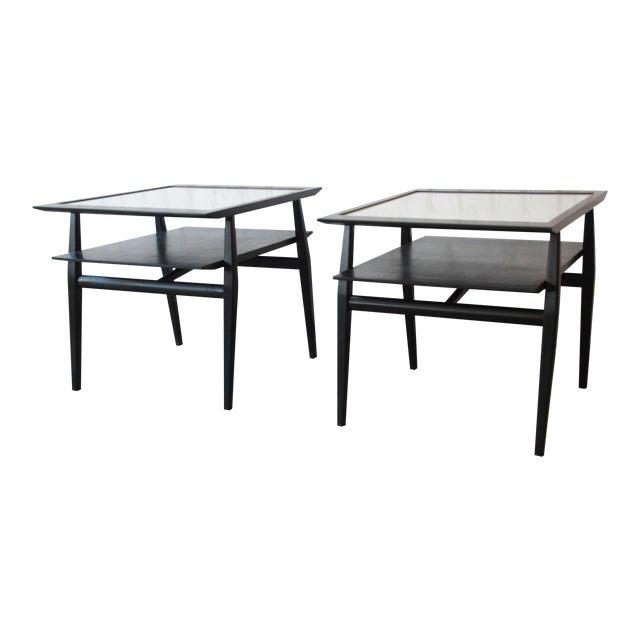 Bertha Schaefer for Singer & Sons Ebonized Mid-Century Modern End Tables- A Pair For Sale