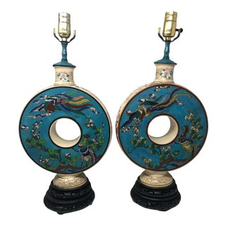 1920's Ceramic and Cloisonne Enamel Lamps - a Pair For Sale