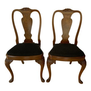 Antique Hand Carved Queen Anne Walnut Chairs - a Pair For Sale