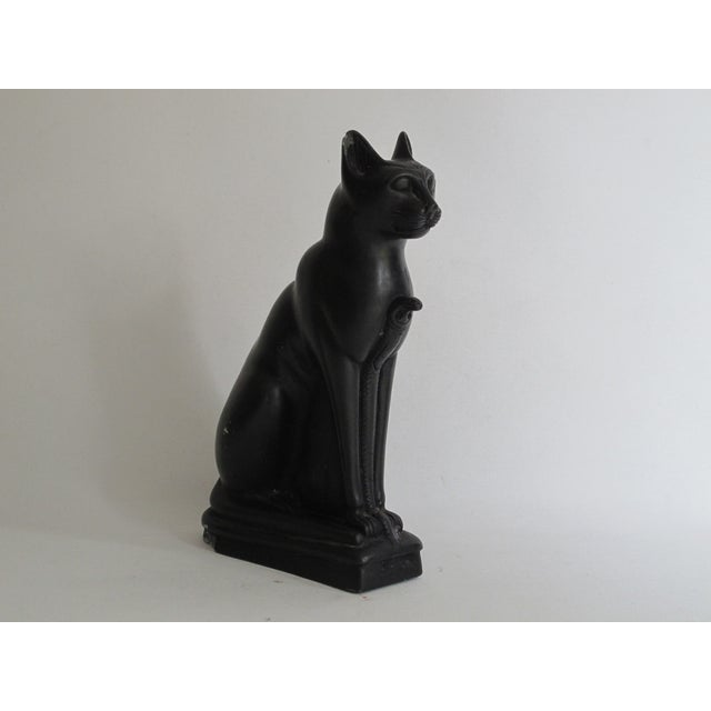 Egyptian Black Cat Carved Stone Sculpture - Image 7 of 10
