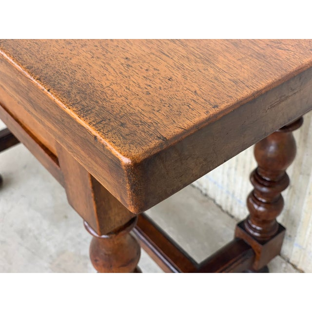 Wood Spanish 1890s Walnut Side Table Single Drawer Wit Turned Legs For Sale - Image 7 of 13