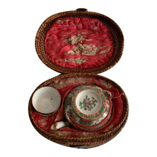 Antique 19th Century Chinese Rose Medallion Teapot and Cups in Wicker Basket - 3 Pieces For Sale
