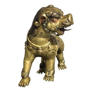 Delightful Tibetan Gilt Bronze Buddhistic Lion