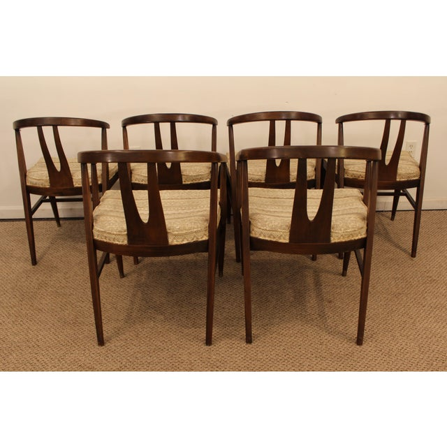 Curved-Back Walnut Dining Chairs - Set of 6 - Image 5 of 11