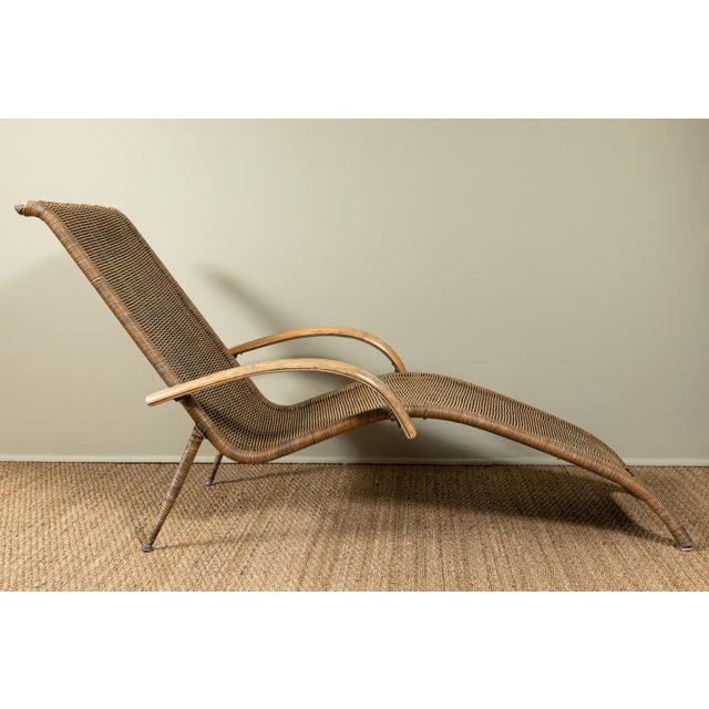 Mid-Century Modern Mid-Century Italian Rattan Lounge Chair For Sale - Image 3 of 9
