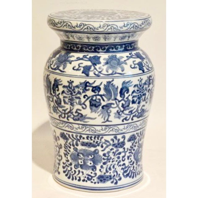Blue and White Ceramic Garden Stool For Sale - Image 9 of 9