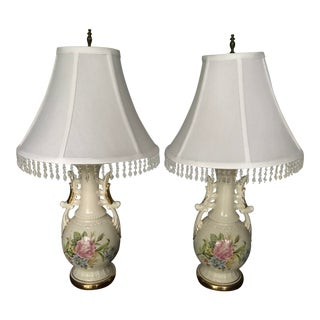 Vintage French Opaline Enamel Painted Vase Lamps - a Pair/Reduced Final For Sale