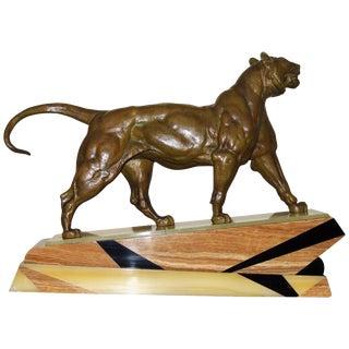 Bronze Art Deco Lion Sculpture For Sale